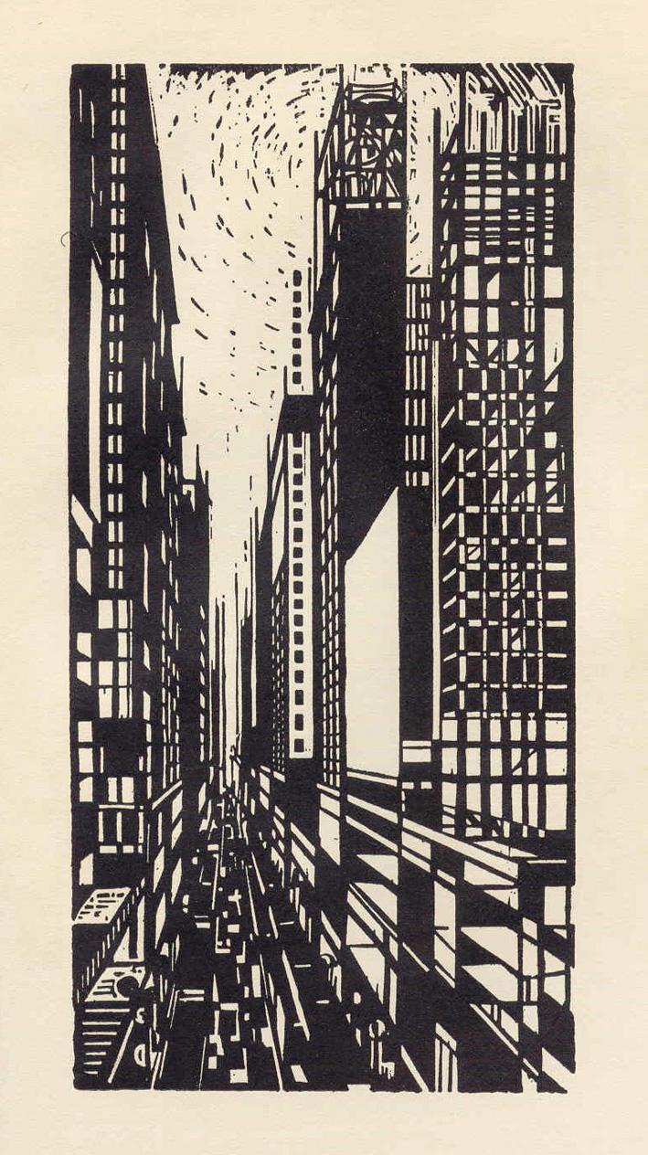 "Max Thalmann, Skyscraper Under Construction, from the Portfolio ""America in Woodcut"", 1925"