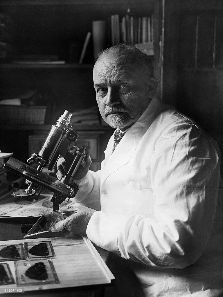 Vogt, Oskar *06.04.1870-+Hirnforscher, D- Halbportrait hinter dem Mikroskop- 1928