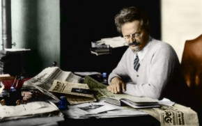 Russian revolutionary Leon Trotsky (1879 - 1940) working on his book 'The History of the Russian Revolution' in his study at Principe, Gulf of Guinea. (Photo by Hulton Archive/Getty Images)