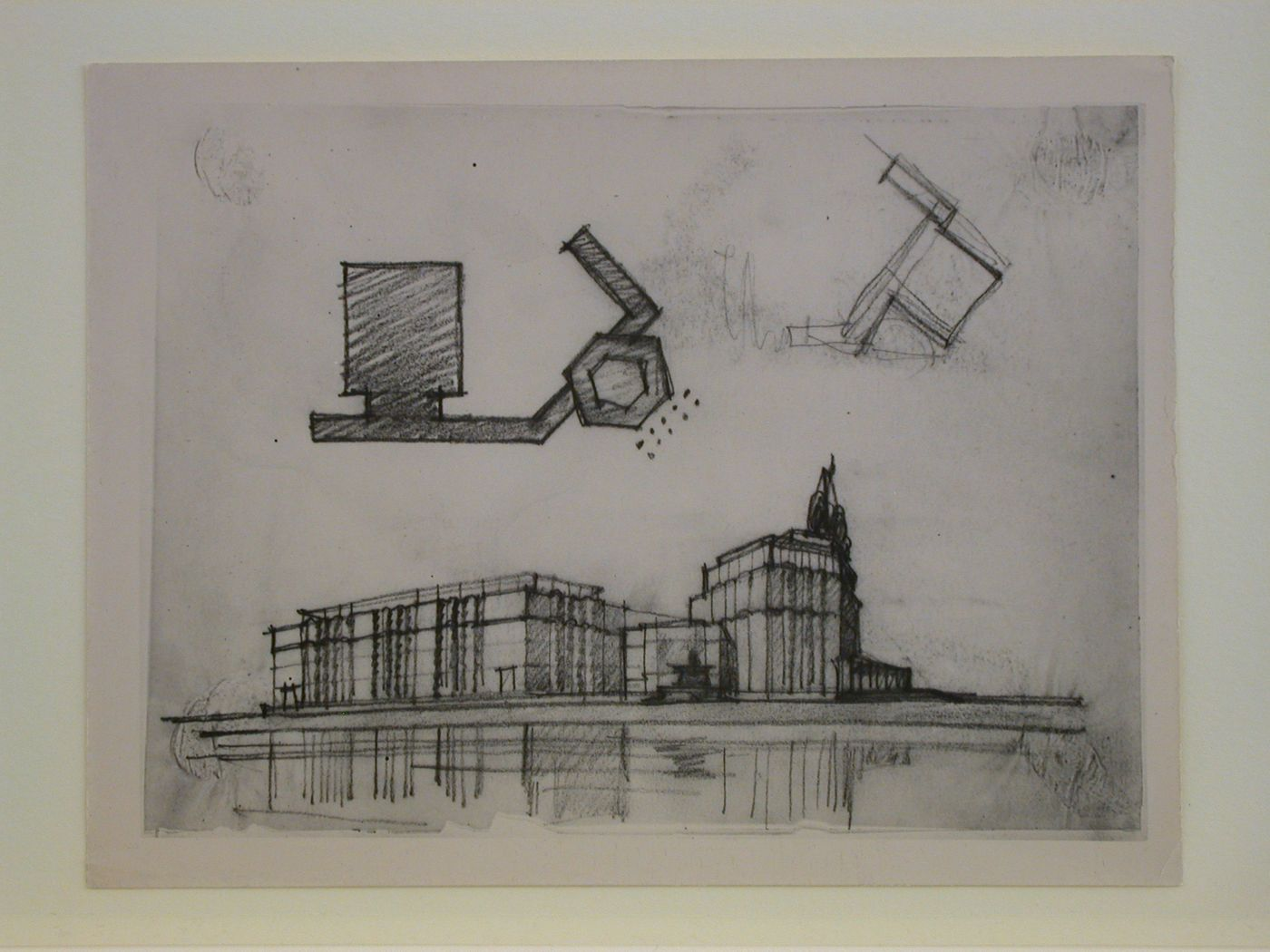 Photograph of a plans and perspective sketches for the Izvestiia newspaper combine, Moscow
