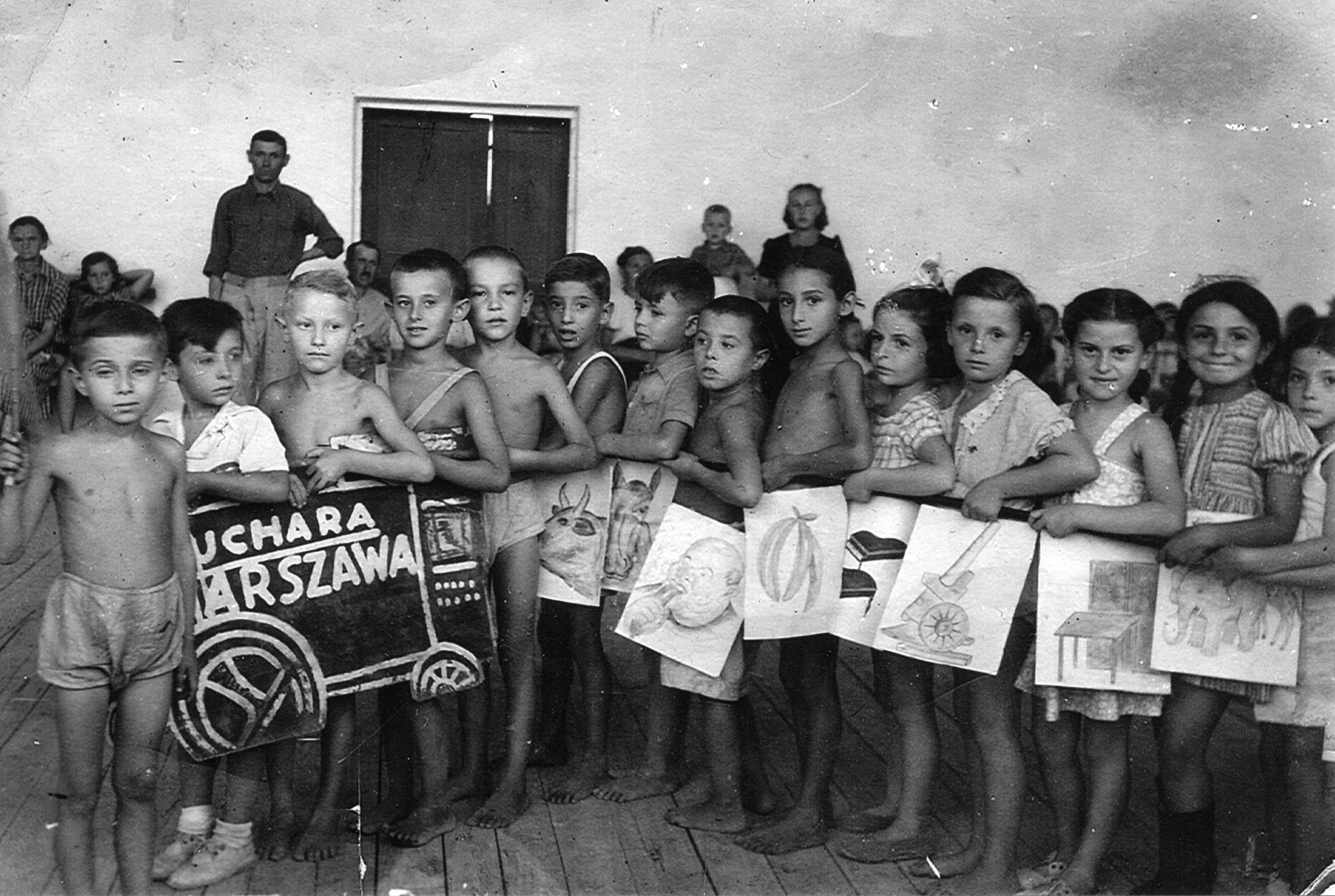 Zvia Korenzyer (fourth from right) and her classmates pose in Bukhara, Uzbekistan 1945
