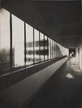 Lucia Moholy, Architect- Walter Gropius Bauhaus Building, Dessau, 1925-1926- Bridge hallway 1