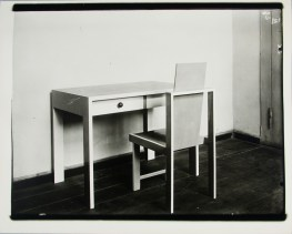 Lucia Moholy, Furniture by Marcel Breuer Kitchen Table and Chair (1923)