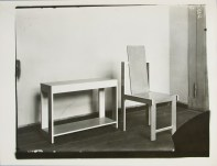 Lucia Moholy, Furniture by Marcel Breuer Kitchen Work Table and Chair (1923)