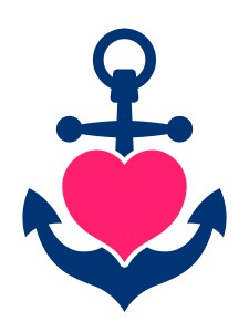 Heart enclosed in anchor shape