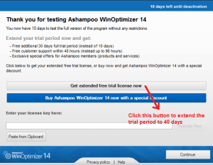 Ashampoo WinOptimizer trial limitationextend