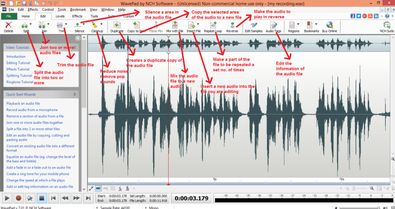 wavepad sound editor edit tab