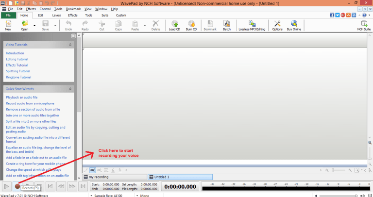 wavepad sound editor record