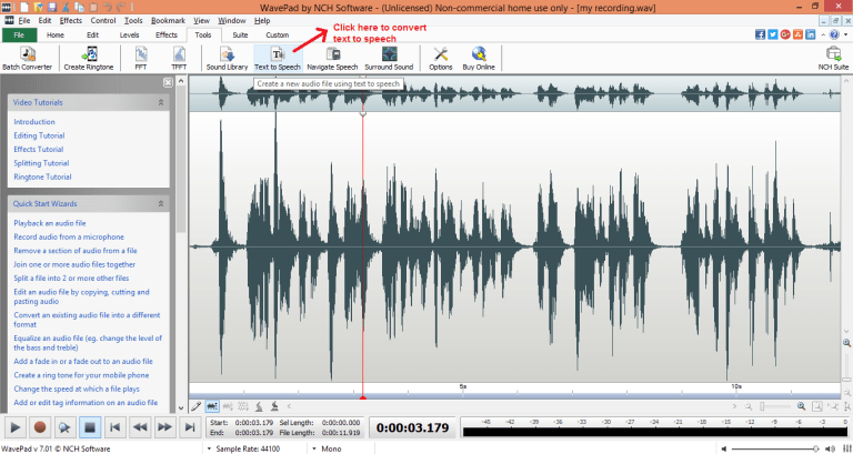 wavepad sound editor text-speech
