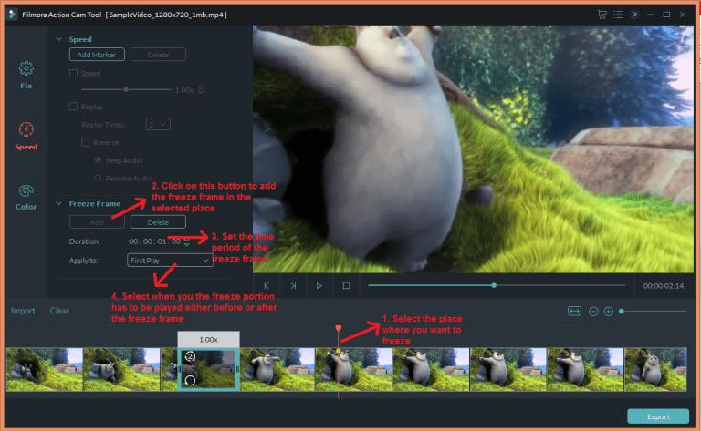 wondershare video editor actioncam speedfreeze