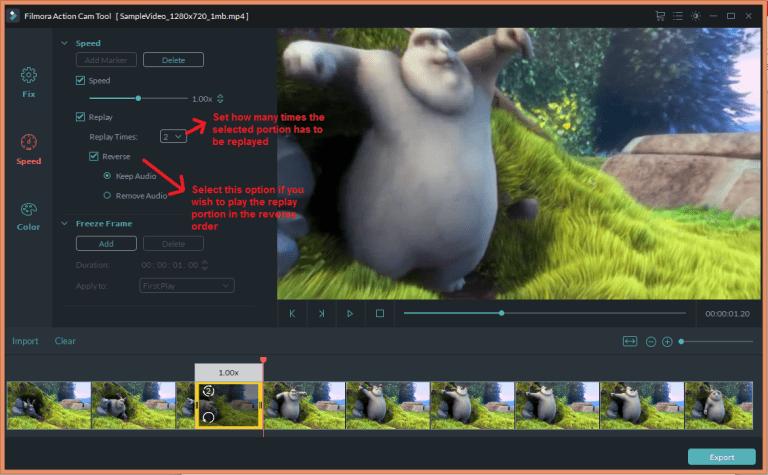 wondershare video editor actioncam speedreplay