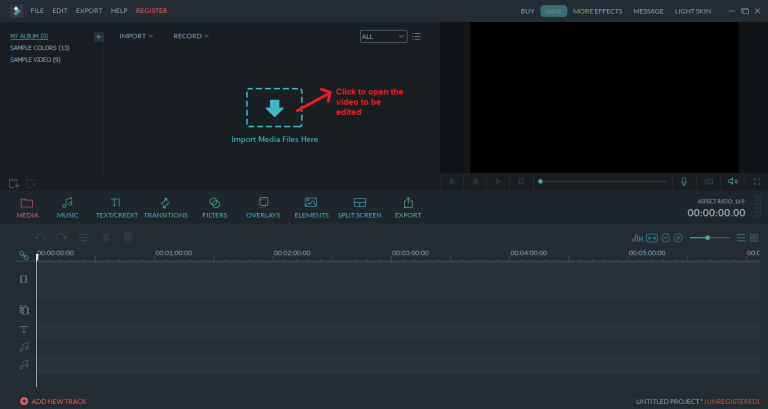 wondershare video editor open