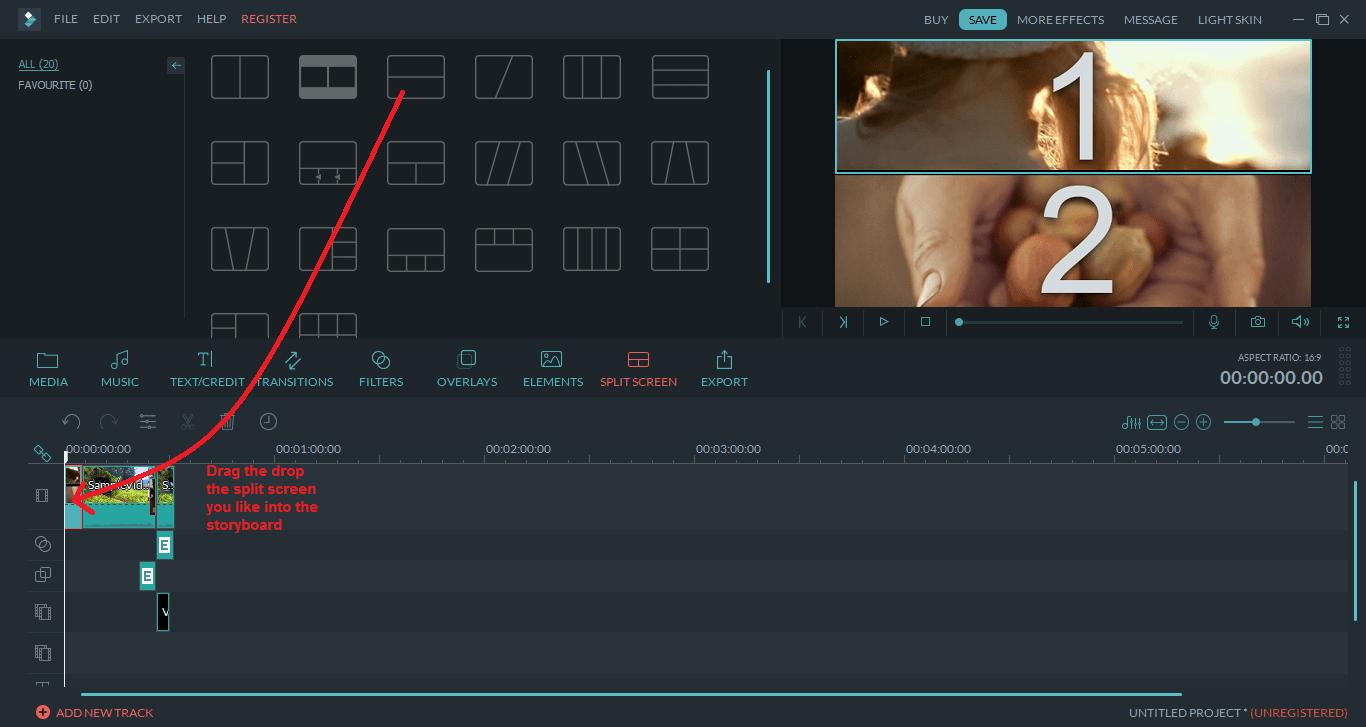 wondershare video editor splitscreen
