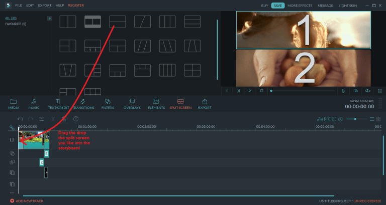 wondershare video editor splitscreen