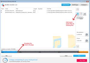 Ashampoo Burning Studio audiomusic add