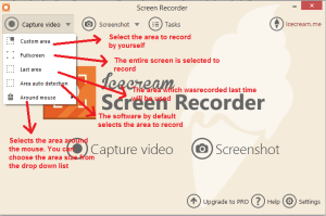 icecream Screen recorder capturevideo options