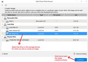 stellar photo recovery createimage selectdrive
