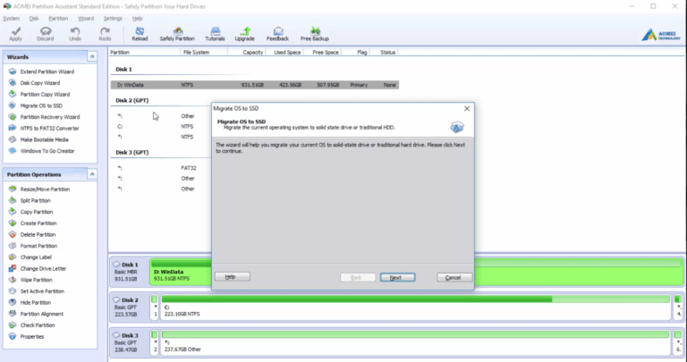 Aomei Partition Assistant mainscreen