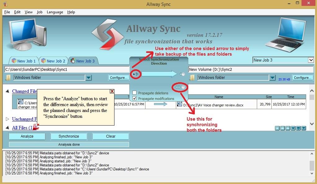 Allway Sync choosearrow