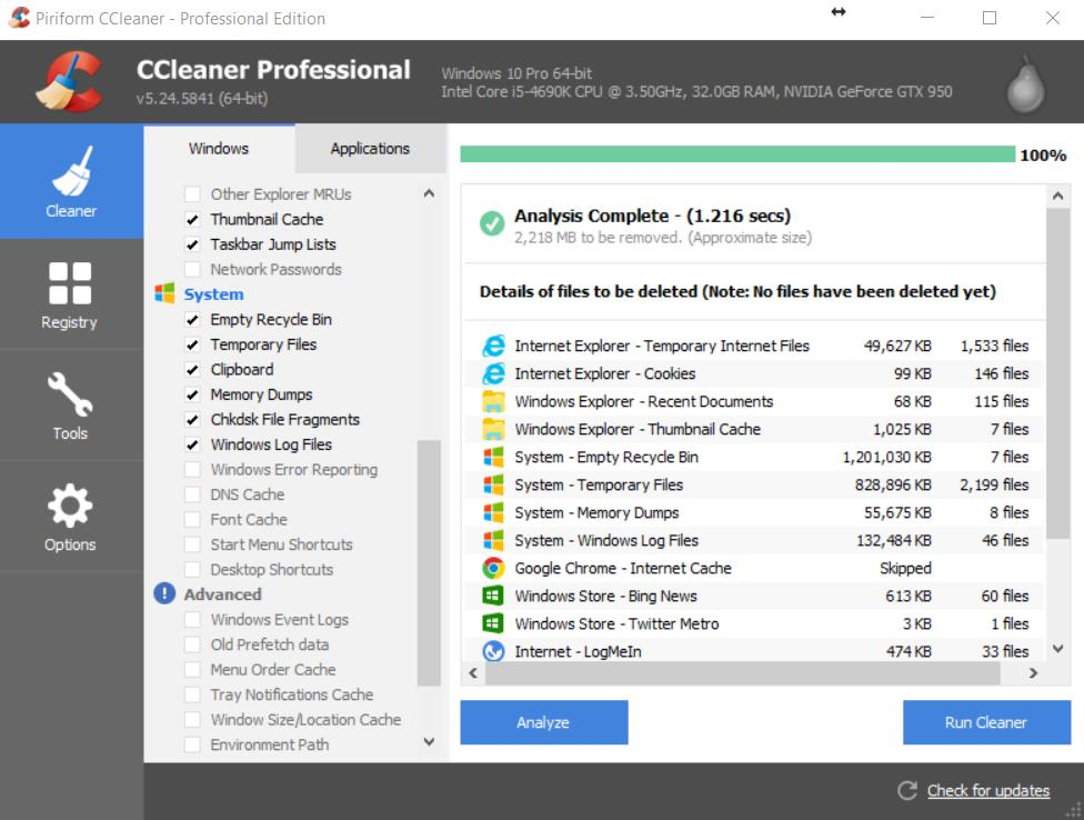 Ccleaner home screen