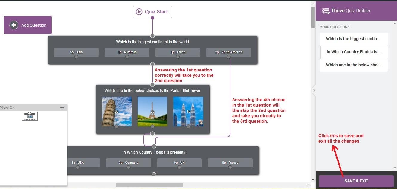 Thrive Quiz Builder flowexample