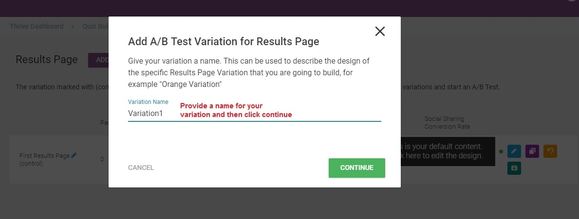 Thrive Quiz Builder variationname