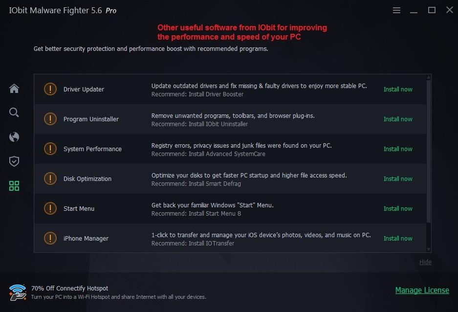 IObit malware fighter action gaurd