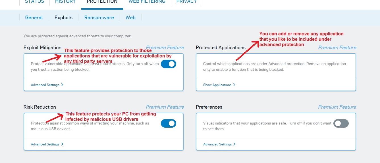Sophos Antivirus exploit tab