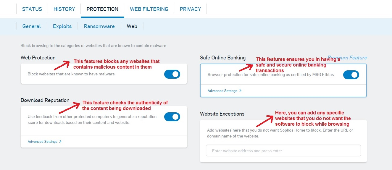 Sophos Antivirus web tab