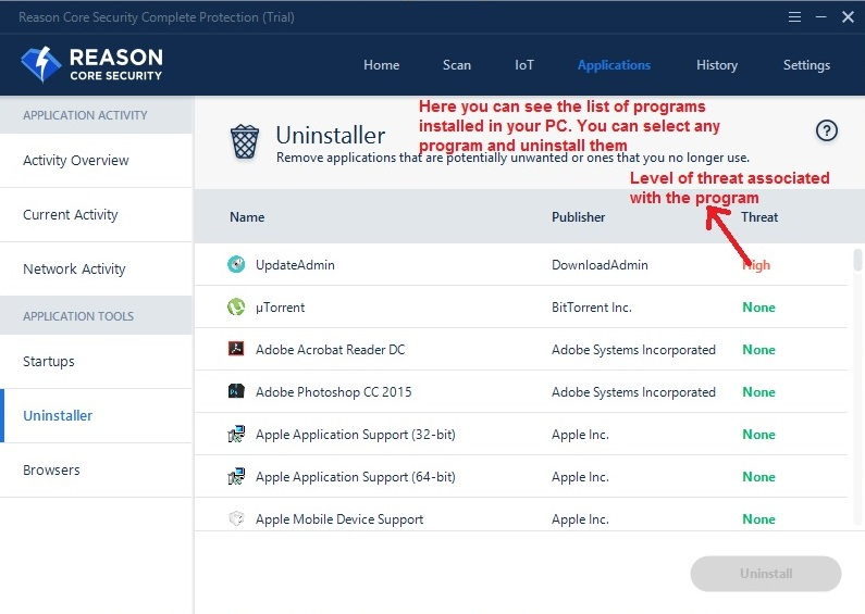 Reason Core Security applications uninstaller