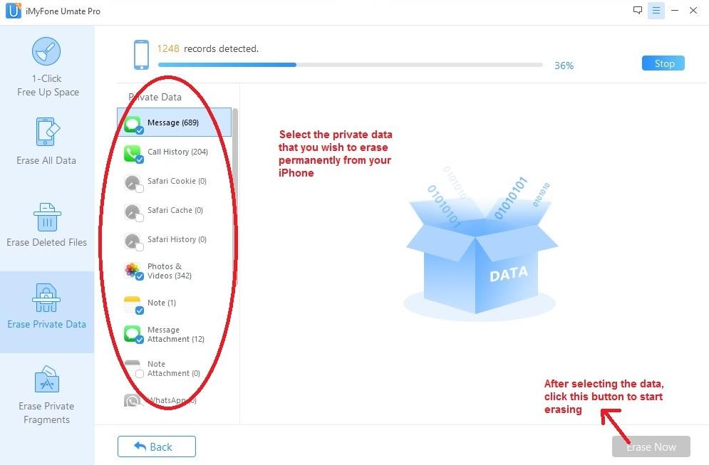 Umate PRO erase private data select files