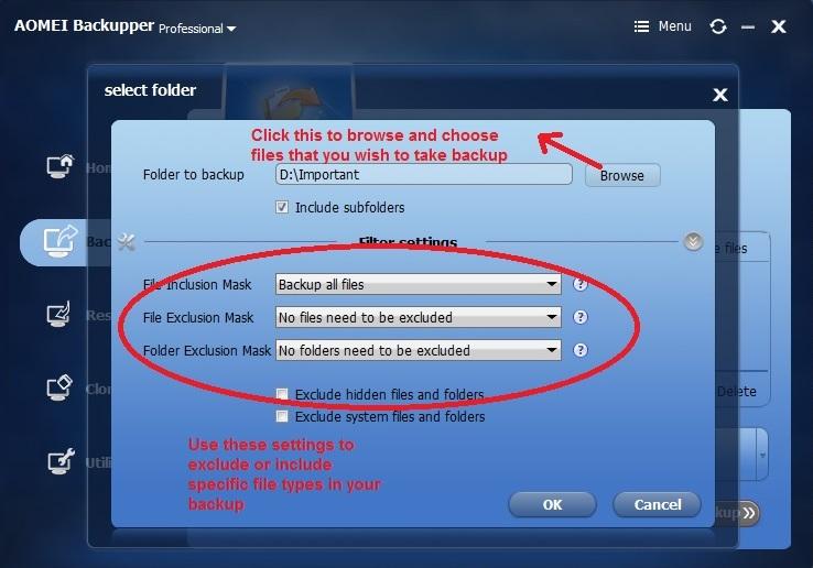 Aomei Backupper Backup choose files