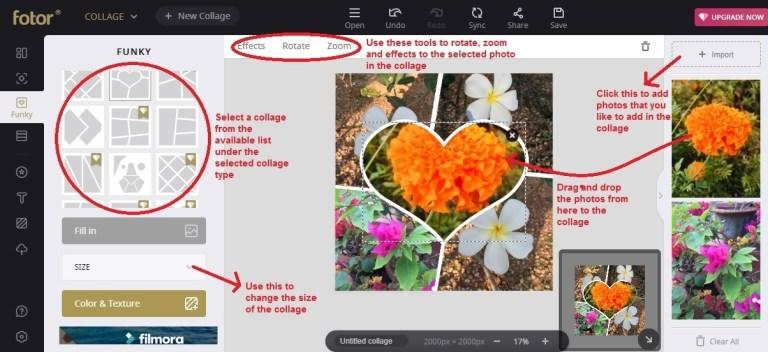 Fotor collage choose photos