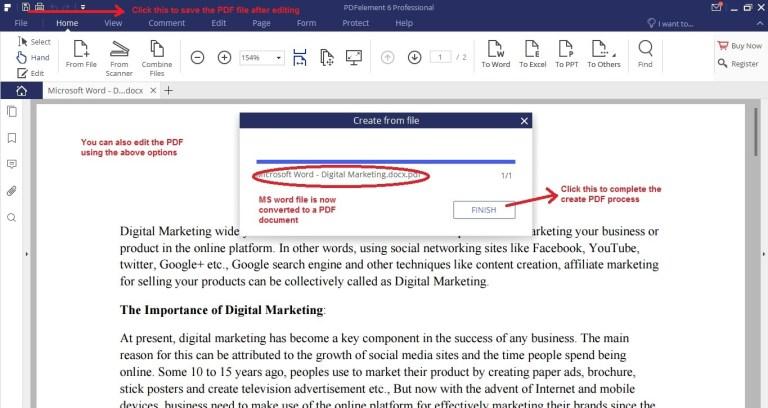 Wondershare PDFelement create pdf