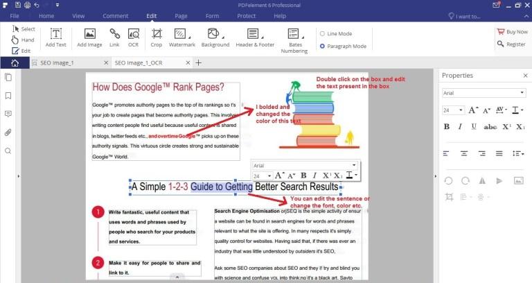 Wondershare PDFelement edit tab OCR