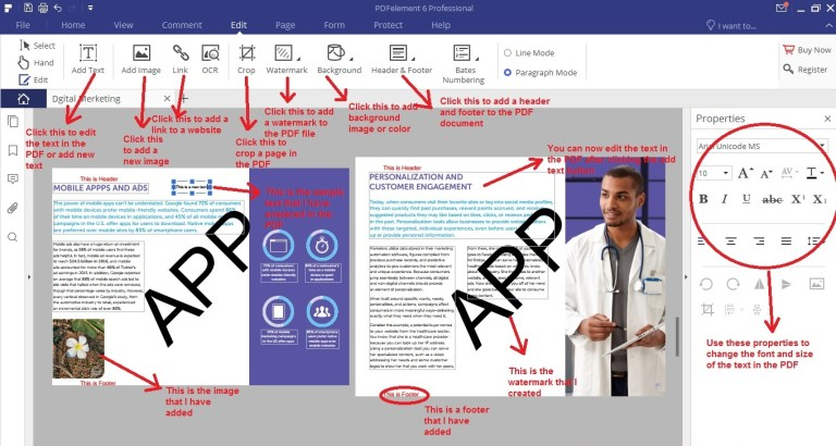 Wondershare PDFelement edit tab