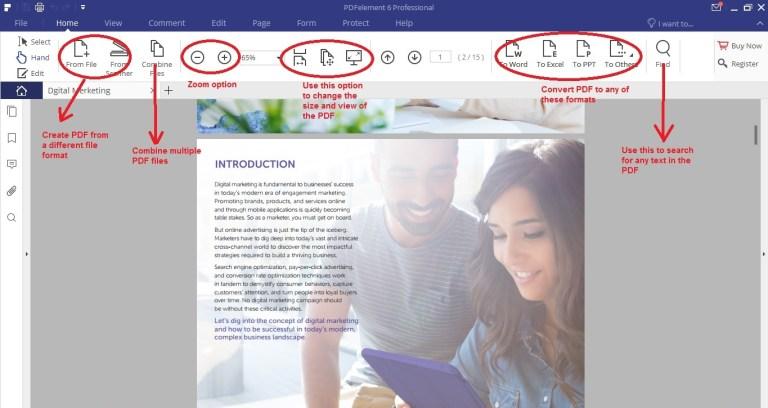Wondershare PDFelement home tab