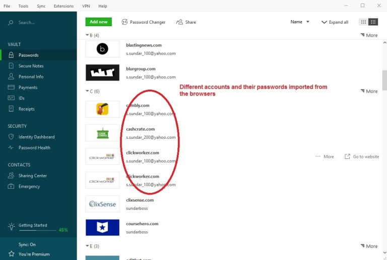 Dashlane passwords