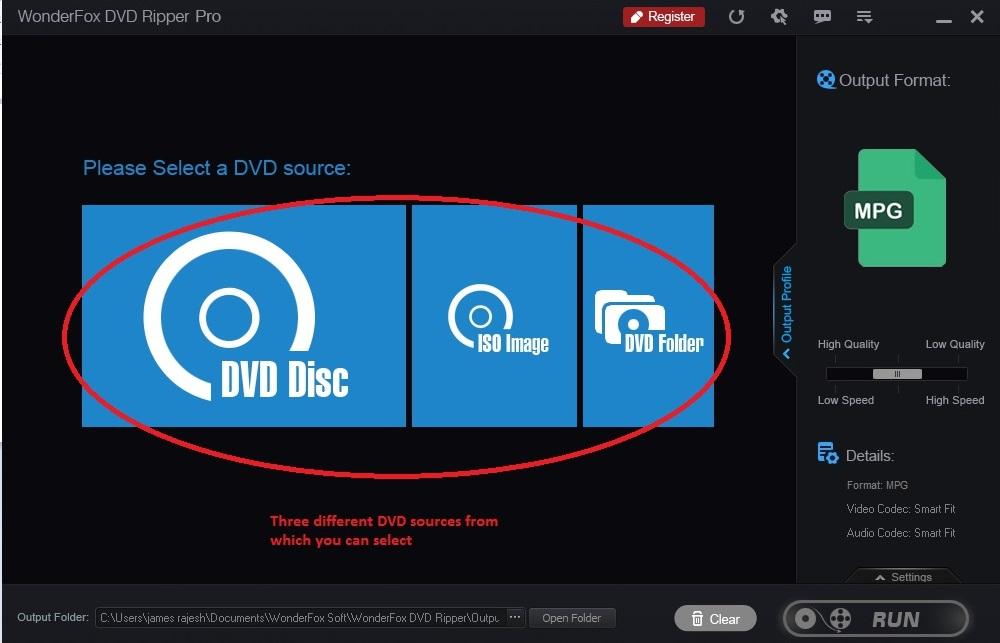 Wonderfox DVD Ripper home screen