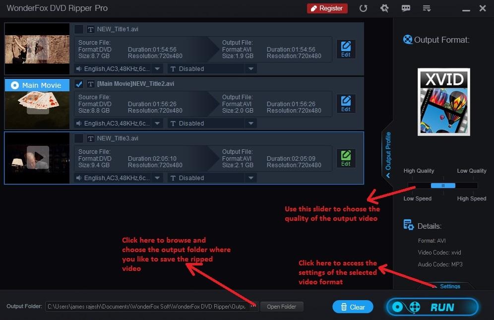 Wonderfox DVD Ripper output video settings