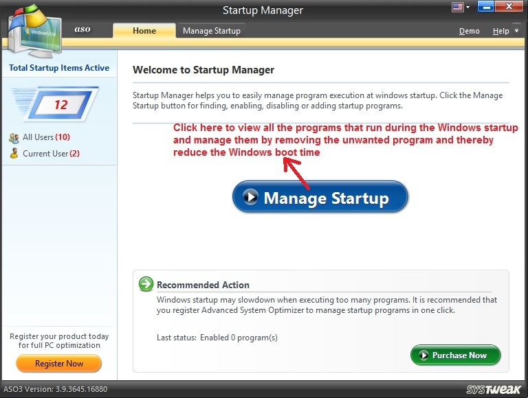 Advanced System Optimizer Startup Manager