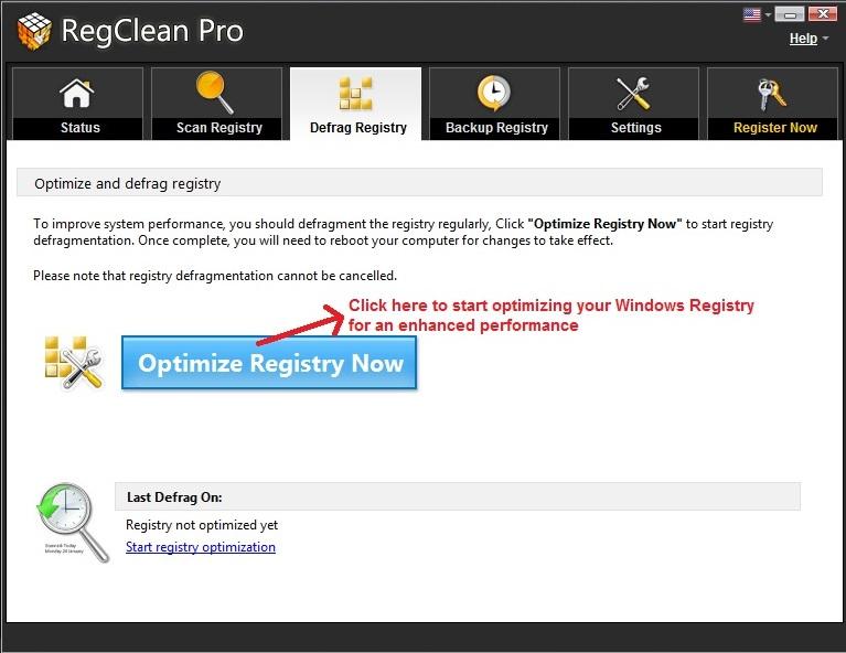 RegClean Pro Optimize registry