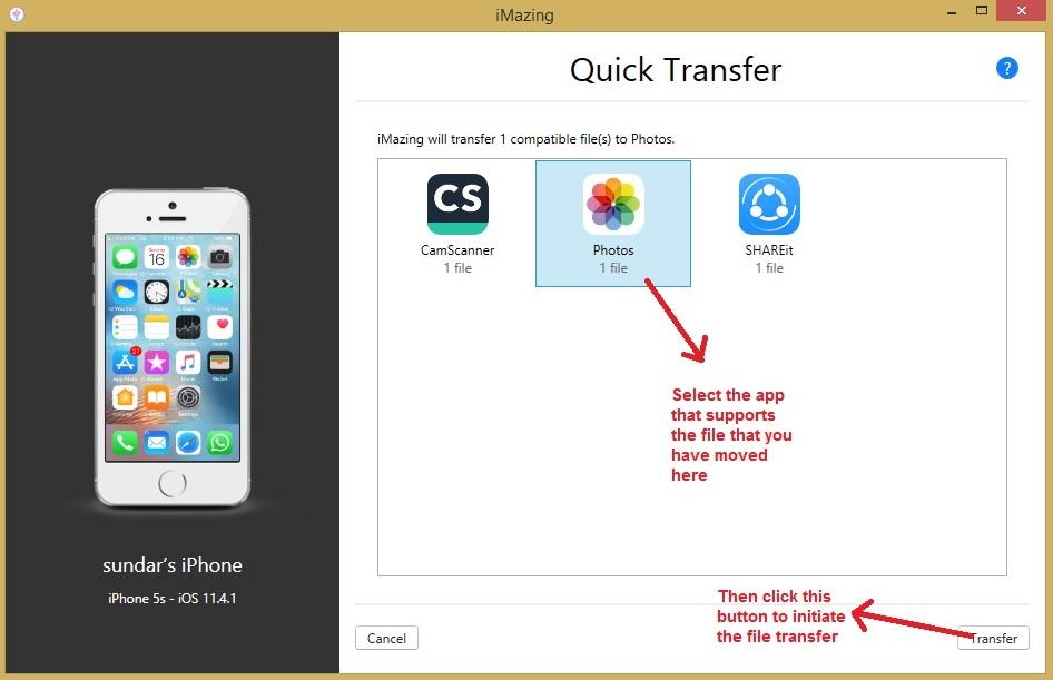 iMazing quick transfer select app