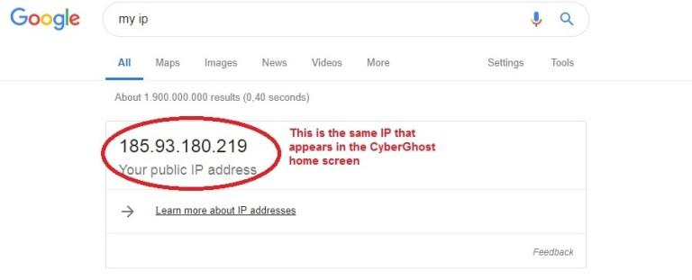 CyberGhost verify IP
