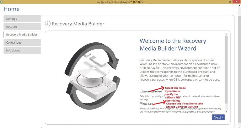 Paragon HDM recovery media builder