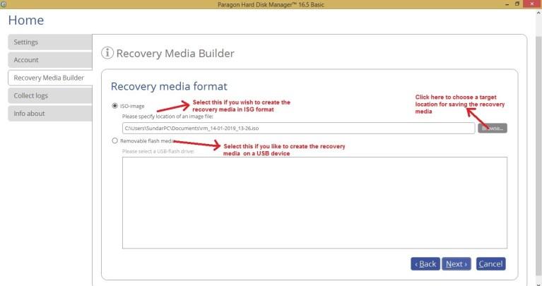 Paragon HDM recovery media choose media format