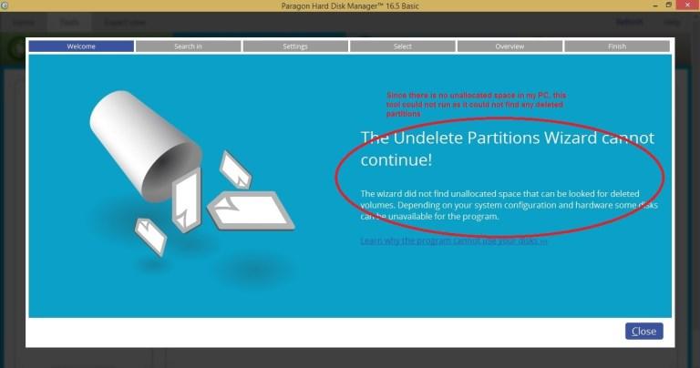 Paragon HDM tools partition undelete