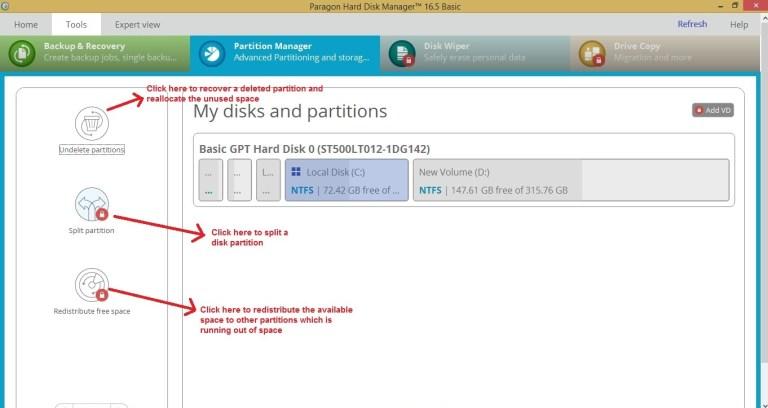 Paragon HDM tools partition