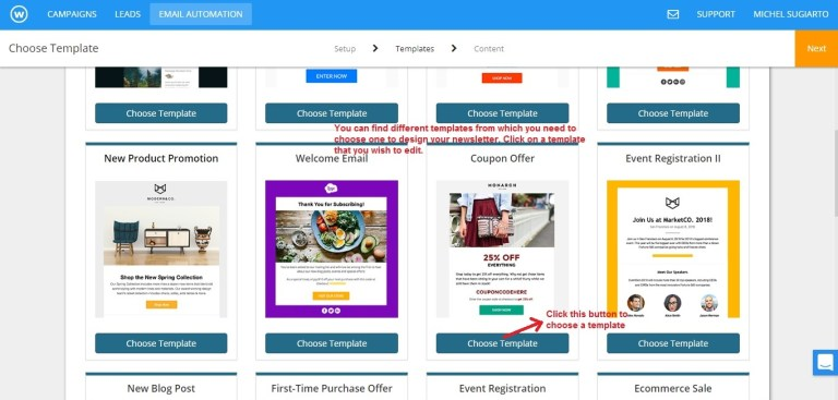 Wishpond email newsletter template choose