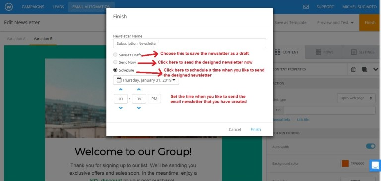Wishpond email newsletter template send